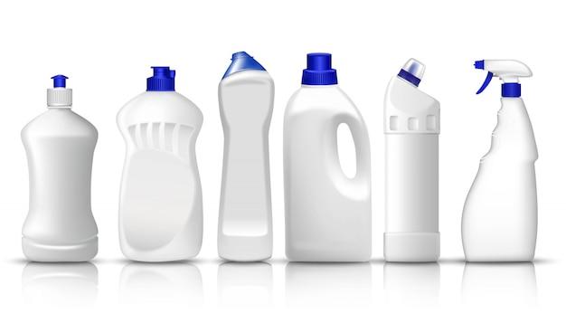 Set van realistische witte plastic flessen van vloeibaar wasmiddel, wasverzachter, afwasmiddel, glas spray. ruimte om uw tekst of merklogo te plaatsen. Premium Vector