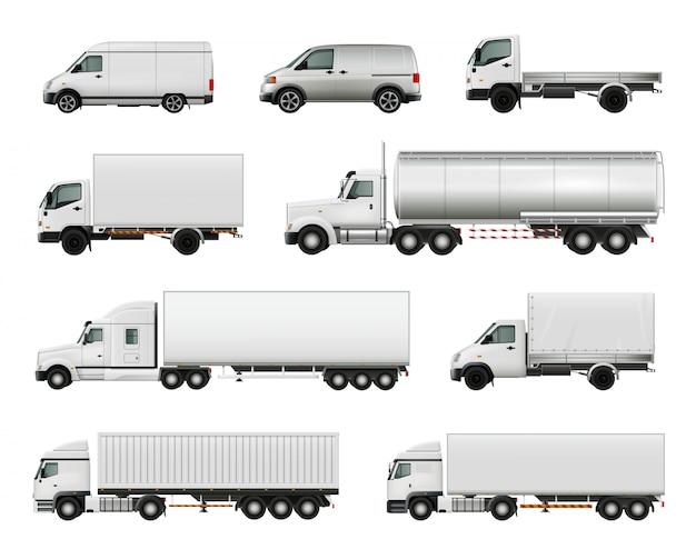 Set van realistische witte vrachtvoertuigen Gratis Vector
