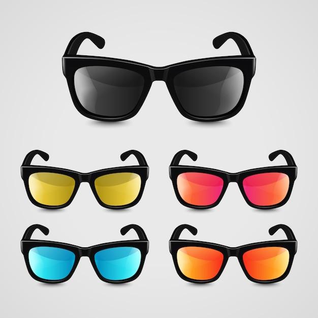 Set van realistische zonnebril Premium Vector