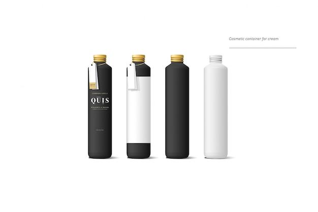 Set van realistische zwarte cosmetische crème container. mock up fles. gel, poeder, balsem en olie, met gouden label Premium Vector
