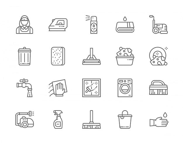 Set van reinigingslijn iconen. Premium Vector