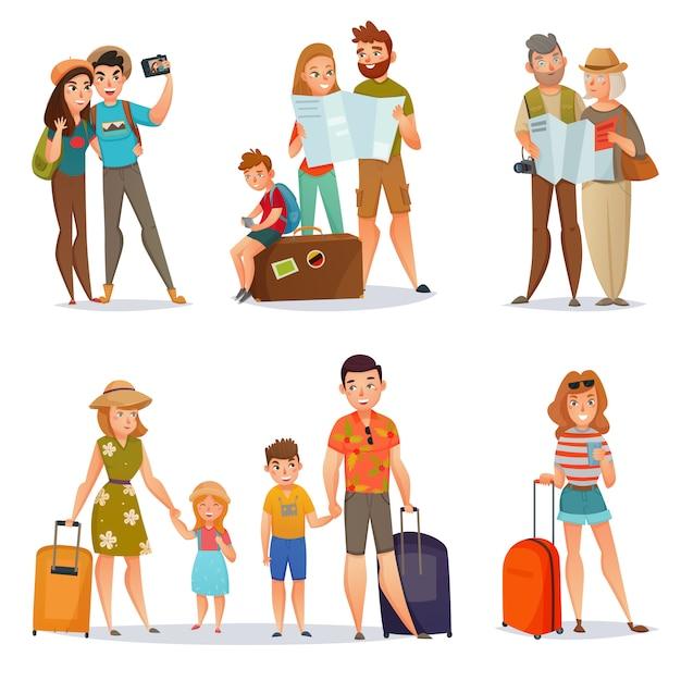Set van reizende mensen Gratis Vector