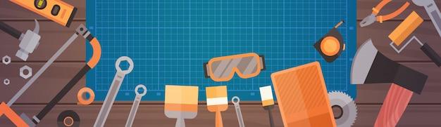 Set van reparatie en constructie werken handgereedschap, apparatuur collectie Premium Vector