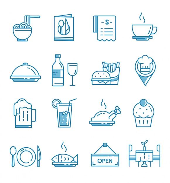 Set van restaurant pictogrammen met kaderstijl Premium Vector