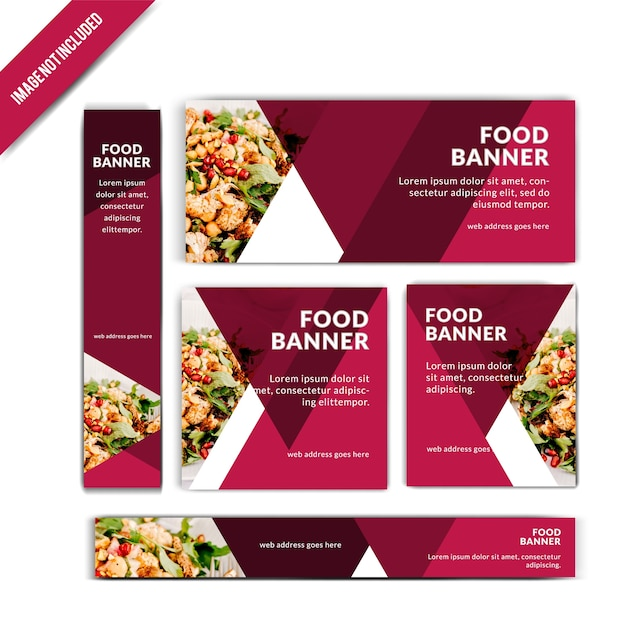 Set van restaurantbanner Premium Vector
