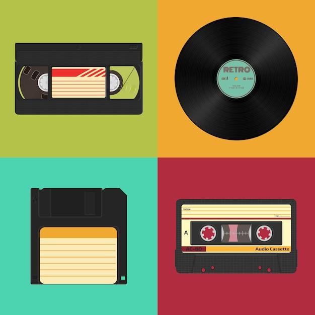 Set van retro audio-, video- en gegevensopslag op een gekleurde vintage. audio, videocassettes, vinylplaat Premium Vector