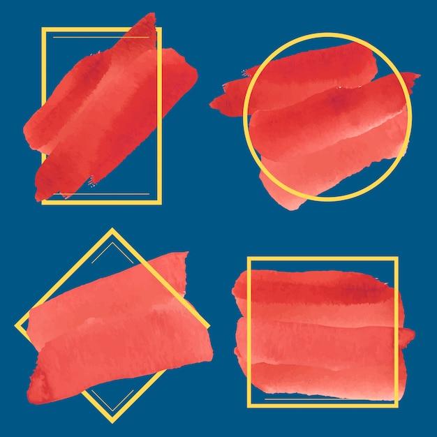 Set van rode aquarel banner ontwerp vector Gratis Vector
