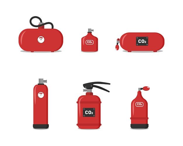 Set van rode brandblussers, pictogrammen - veiligheidssymbool - beschermingsmiddelen - noodsituatie teken. brandblusser van verschillende typen om de veiligheid van het gebouw te waarborgen, die mensen zou beschermen. Premium Vector