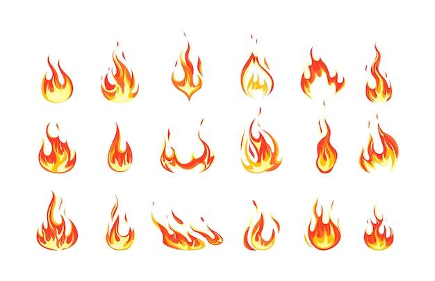 Set van rode en oranje vuurvlam. verzameling van heet vlammend element. idee van energie en kracht. illustratie Premium Vector