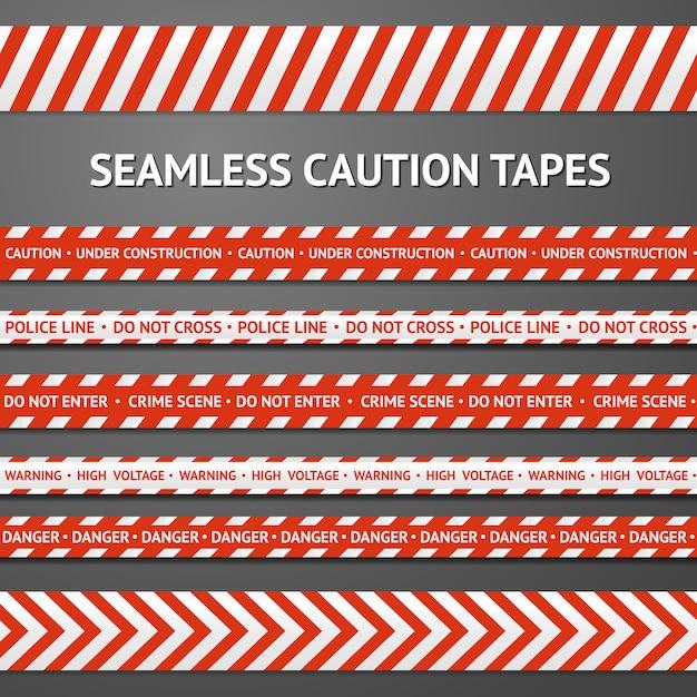 Set van rode en witte naadloze voorzichtigheidsbanden met verschillende tekens Premium Vector