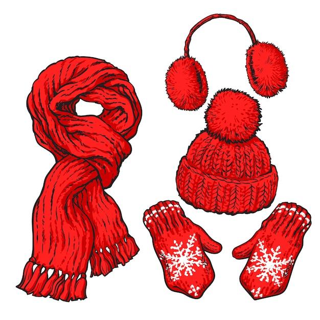 Set van rode geknoopte sjaal, muts, oorwarmers en wanten Premium Vector