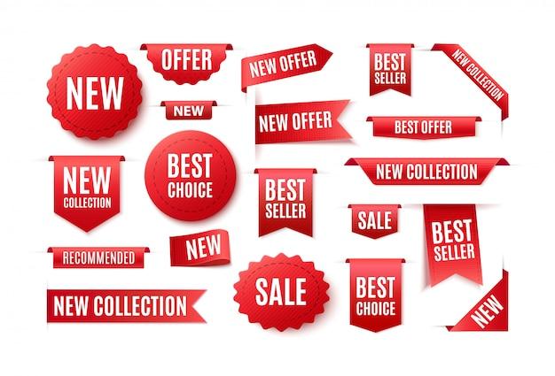 Set van rode linten, badges en banners met de inscriptie beste keuze, nieuw aanbod. illustratie van verkoop en prijzen. Premium Vector