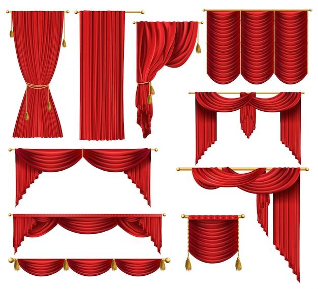 Set van rode luxe gordijnen, open en gesloten, met gordijnen en ...
