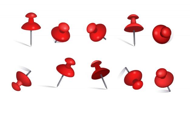 Set van rode papieren pinnen Gratis Vector