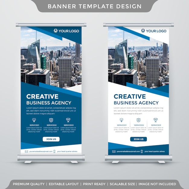 Set van rollup- of x-banner-sjabloon in huisstijl Premium Vector
