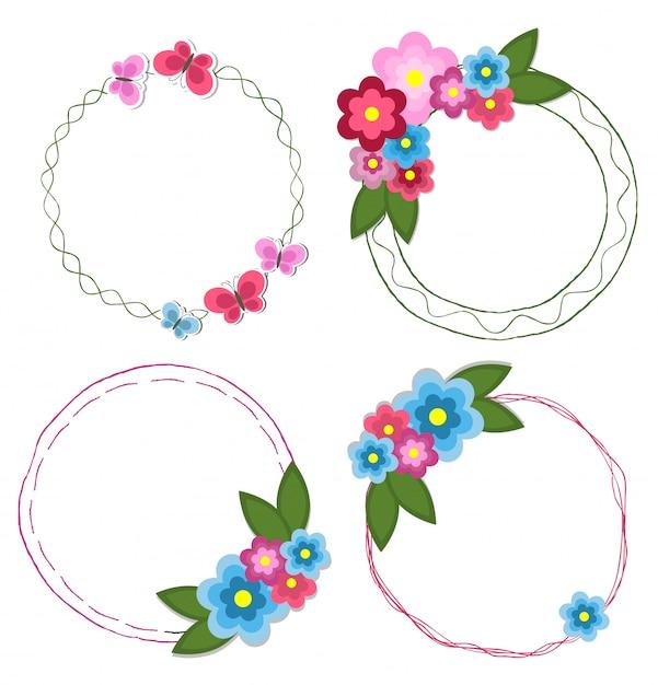 Set van ronde hand getrokken frames met bloemen Premium Vector