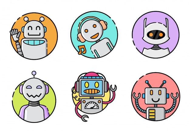 Set van ronde robot pictogram Premium Vector