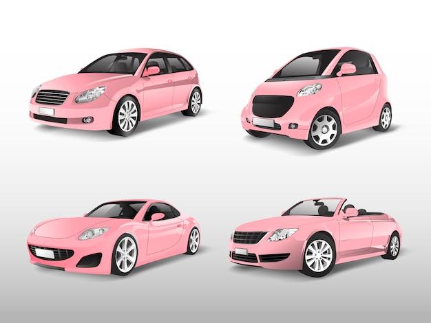 Set van roze auto vectoren Gratis Vector
