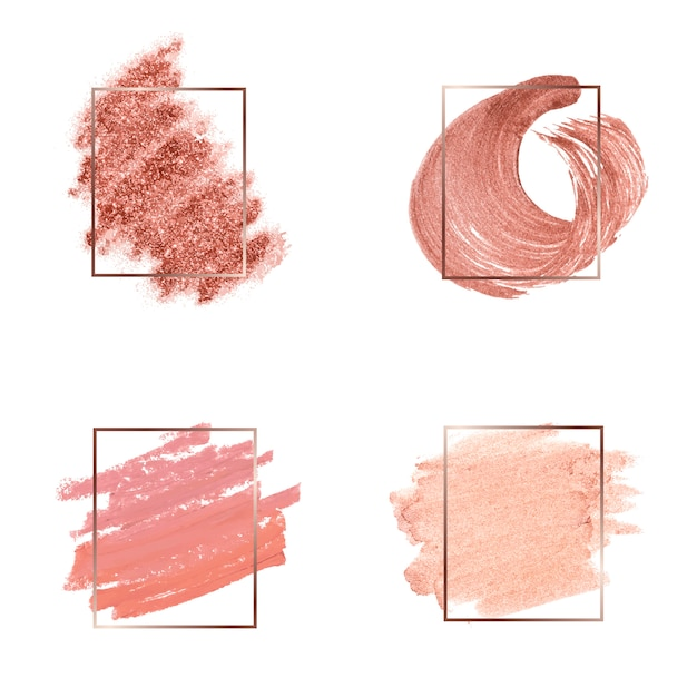 Set van roze penseelstreek badge vectoren Gratis Vector