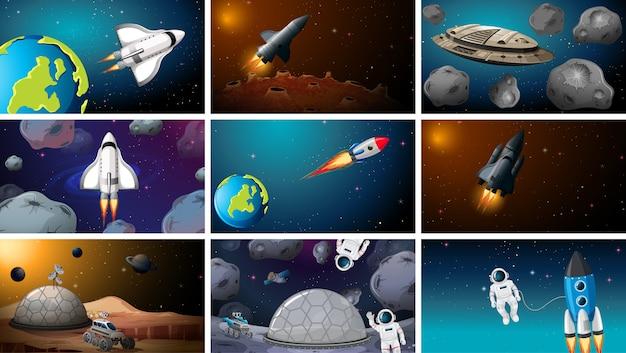 Set van ruimte-exploratie scènes achtergrond Gratis Vector
