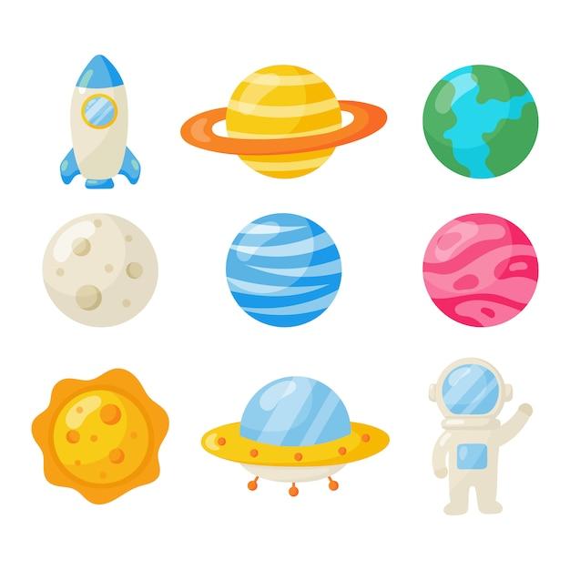 Set van ruimte pictogrammen. planeten cartoon stijl. geïsoleerd Premium Vector
