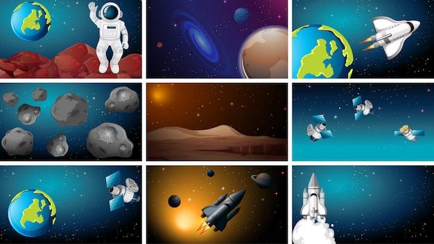Set van ruimte scèneset Gratis Vector