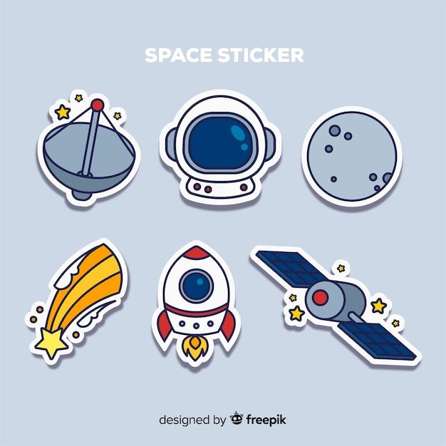 Set van ruimte stickers in de hand getekend Gratis Vector