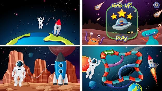Set van ruimtegames Gratis Vector