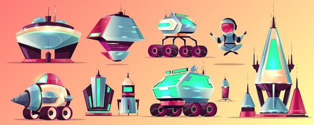 Set van ruimteverkenning raketten en voertuigen, sciencefiction buitenaardse gebouwen cartoon Gratis Vector