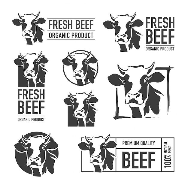 Set van rundvlees logo Premium Vector