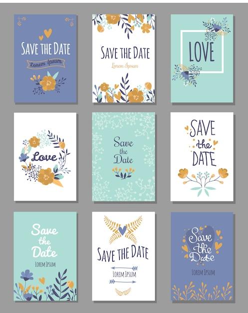 Set van save the date-kaarten, romantische liefdesthema Premium Vector