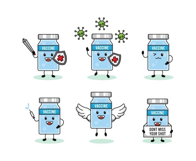 Set van schattig coronavirus vaccin mascotte ontwerp Premium Vector