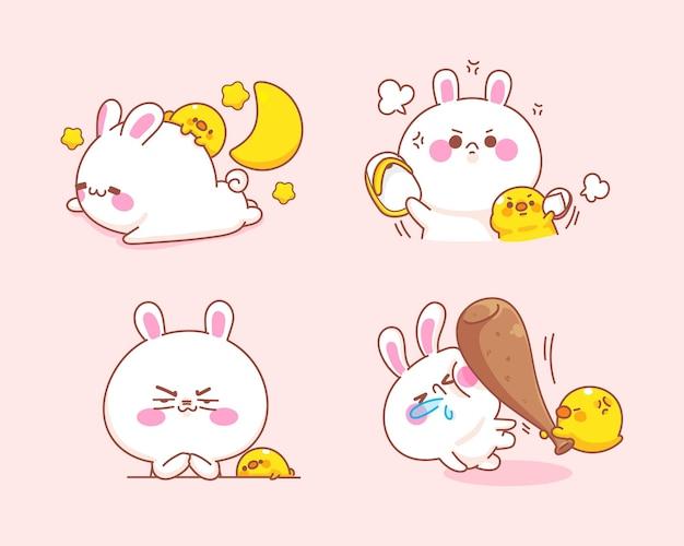 Set van schattig konijn met eend gevoel boos cartoon afbeelding Gratis Vector