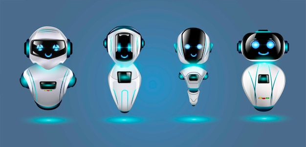 Set van schattige 3d-robots. Premium Vector