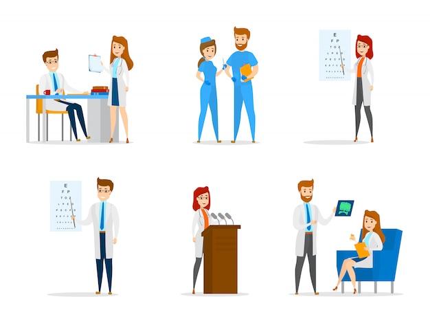 Set van schattige arts en verpleegkundige personages met verschillende poses, gezicht emoties en gebaren. geneeskundemedewerkers praten met elkaar en doen onderzoeken en onderzoeken. illustratie Premium Vector