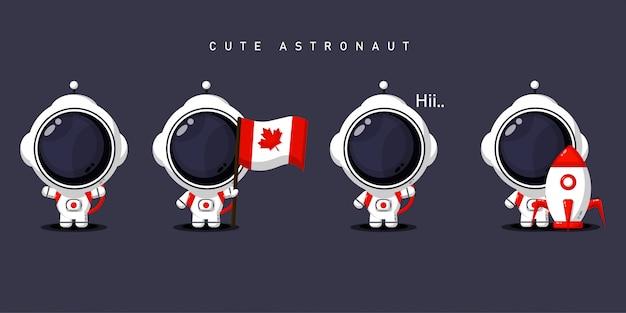Set van schattige astronauten Premium Vector