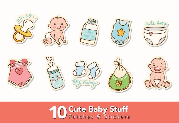 Set van schattige baby spullen stickers Premium Vector