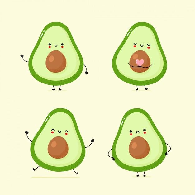 Set van schattige blij en verdrietig avocado Premium Vector