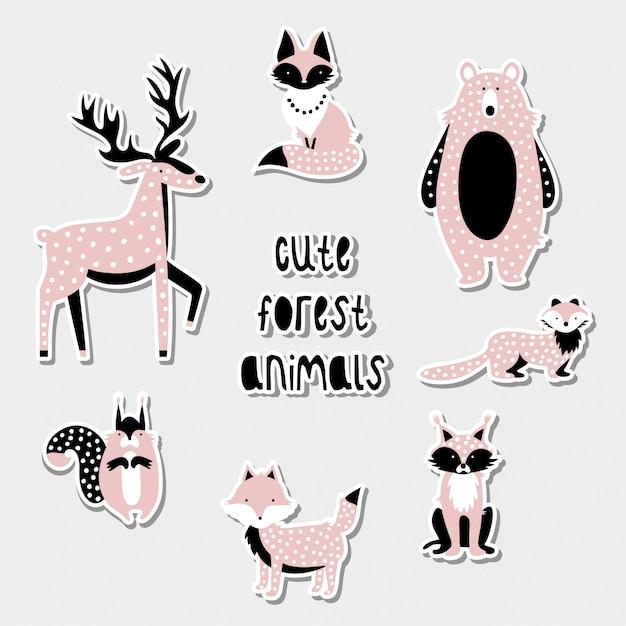 Set van schattige bosdieren Premium Vector