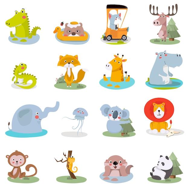 Set van schattige dieren illustraties. leuke dierentuin Premium Vector