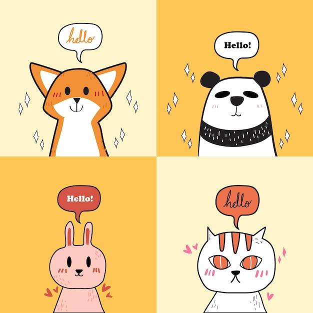 Set van schattige dieren: kat, panda, konijn en vos. Premium Vector