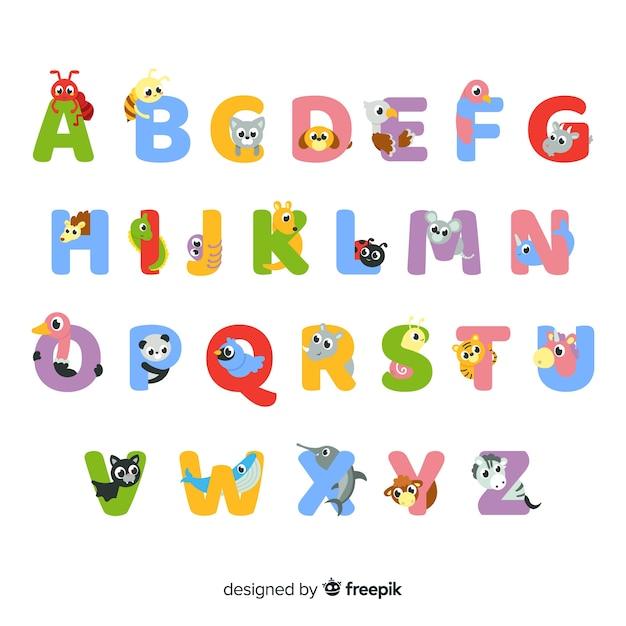 Set van schattige dieren letters Gratis Vector