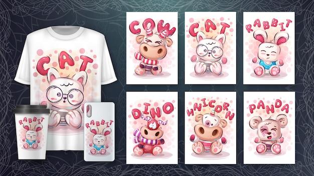 Set van schattige dieren tekenen voor poster en merchandising Premium Vector