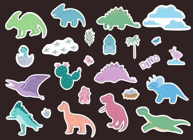 Set van schattige dinosaurussen stickers. Premium Vector
