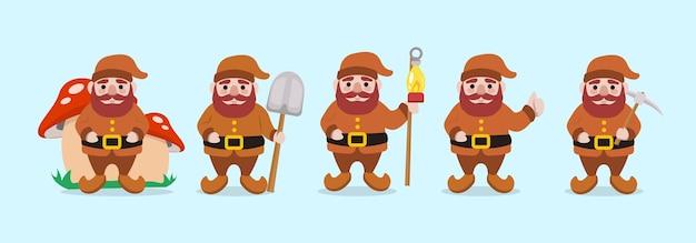 Set van schattige dwerg kerst mascotte illustratie Premium Vector