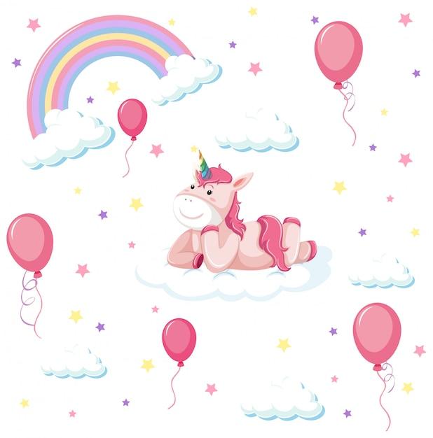 Set van schattige eenhoorn met regenboog en ballon Gratis Vector