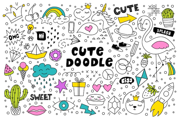 Set van schattige en kleurrijke doodle hand tekenen Premium Vector