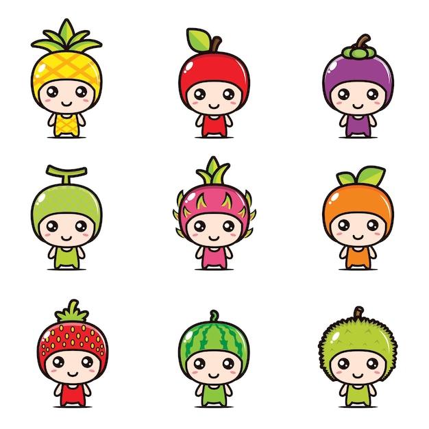 Set van schattige fruit mascotte ontwerpen Premium Vector