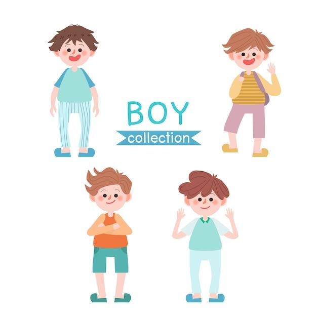 Set van schattige jongen. terug naar school kinderen. Premium Vector