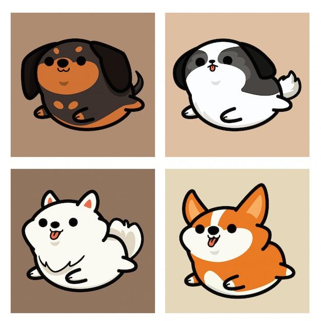 Set van schattige kawaii hond cartoon afbeelding Premium Vector